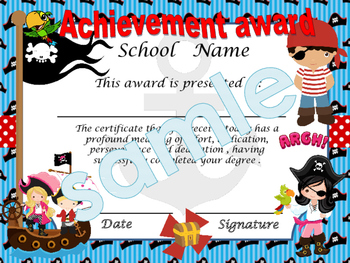 Pirates Achievement award English / Spanish version