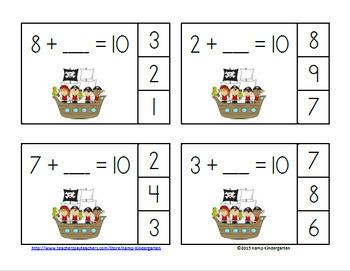 Pirates Addition Math Centers Bundle