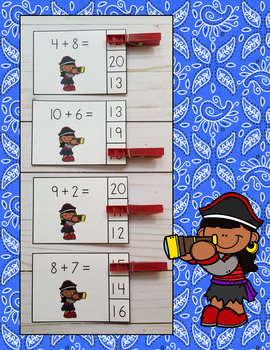 Pirates Addition Within 20 Clip Card Math Centers