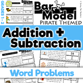 Pirates: Addition and Subtraction Bar Model Word Problems - Grades 1 and 2