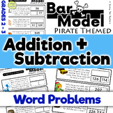 Pirates: Addition and Subtraction Bar Model Word Problems - Grades 2 and 3