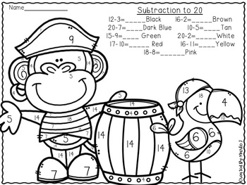Pirates Addition and Subtraction to 20 Color-By-Number