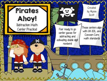 Pirates Ahoy! Double Digit Subtraction Center Activities
