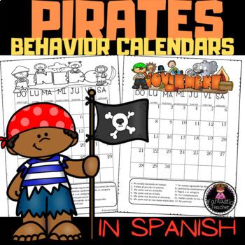 Pirates Behavior Calendars in Spanish (EDITABLE) 2106-2017