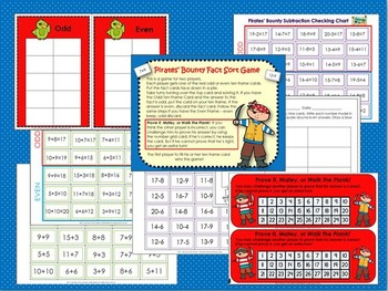 Addition and Subtraction Game, 10 - 20 : Pirates' Bounty Fact Sort