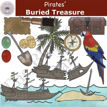 Pirates' Buried Treasure Clip Art Set