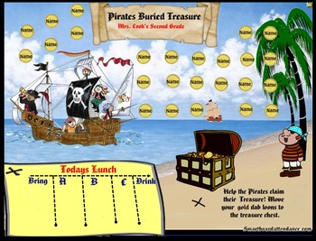 Pirates Buried Treasure Smartboard Attendance with or without lunch order