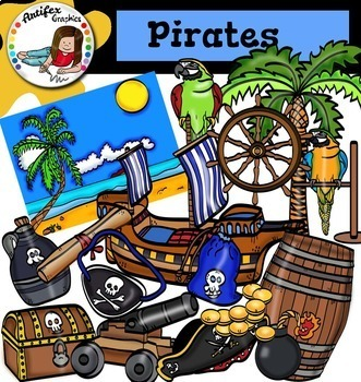 Pirates Clip Art Bundle- Color and B&W- 72 items!