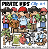 Pirate Ship Kids Treasure and Map Clip Art