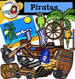 Pirates Clip Art set3- color and B&W