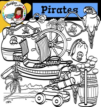 Pirates Clip Art set3- color and B&W