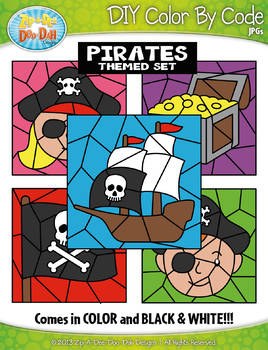 Pirates Color By Code Clipart {Zip-A-Dee-Doo-Dah Designs}