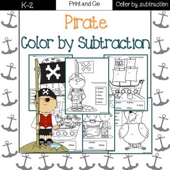 Pirates Color by code {subtraction}