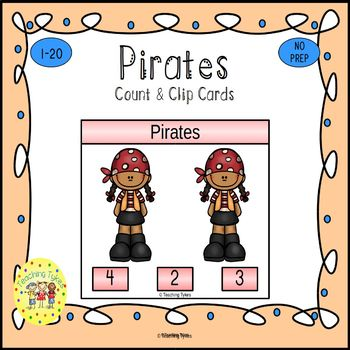 Pirates Count and Clip Task Cards