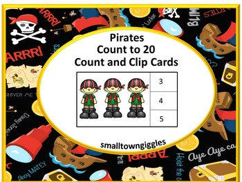 Task Cards-Count and Clip Cards. Pirates Count to 20 PK, K