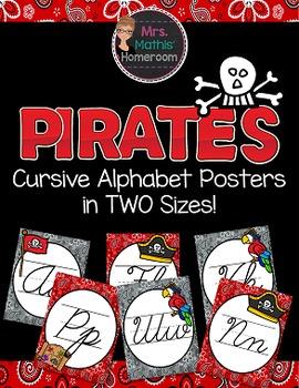 Pirates Cursive Alphabet Posters (Alphabet Line)