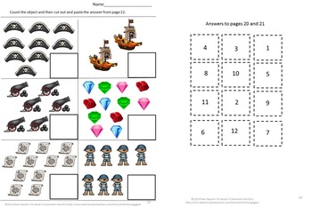Pirate Kindergarten Special Education Autism Cut and Paste Fine Motor Skills