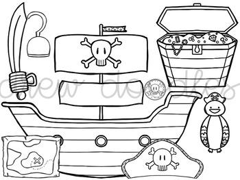 Pirates Digital Clip Art Set- Black Line Version