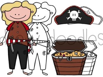 Pirates Digital Clip Art Set- Color and Black Line Version