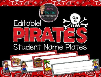 Pirates EDITABLE Student Name Plates