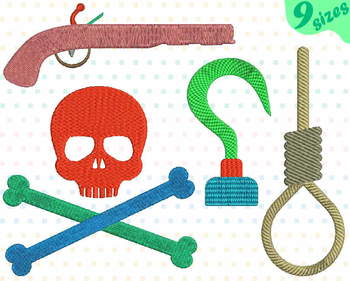 Pirates Embroidery Design  skull captain hook pistol rope navy pirate 141b