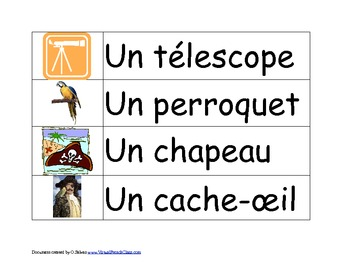 Pirates Flash cards FRENCH