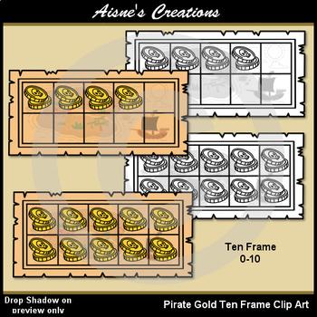 Pirates Gold Ten Frame Clip Art