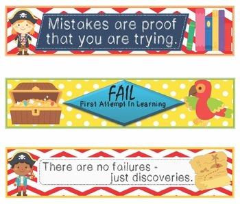Pirates Growth Mindset Bookmarks, Shelf Markers or Desk Name Plates -EDITABLE