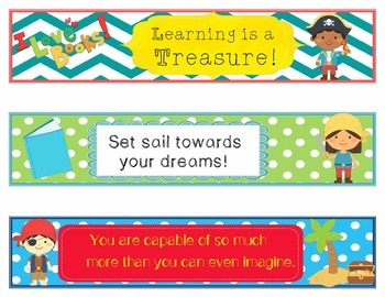 Pirates Decor EDITABLE Growth Mindset Bookmarks or Name Plates