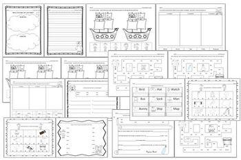 Pirates Language Arts Review Worksheets, Game, Mini-book