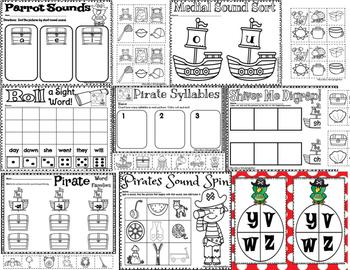 Pirates- Math and Literacy Packet for Kindergarten