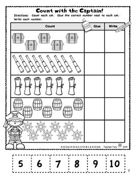 Kindergarten Math and Literacy Printables Pirate Theme NO PREP with Boom Cards