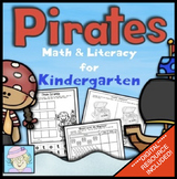 Kindergarten Math and Literacy Worksheets Pirates with BOOM CARDS MATH