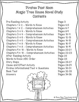 Pirates Past Noon Magic Tree House Book # 4 Novel Study