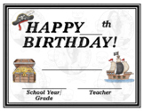 Pirates - Pirate Life - Happy Birthday - Birthday Certificate