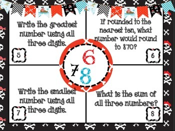 Pirates Place Value Math Mats - Includes Self-Check QR Codes