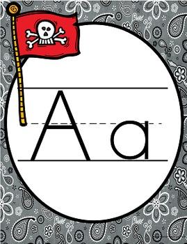 Pirates Print Alphabet Posters (Alphabet Line)