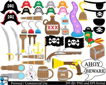 Pirates Props Digital Clip Art Personal and Commercial Use 186 images cod173