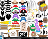 Pirates Props Digital Clip Art Personal and Commercial Use