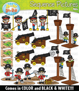 Pirates Sequence Action Pictures Clipart {Zip-A-Dee-Doo-Dah Designs}
