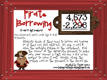 Pirates Subtraction Borrowing Game