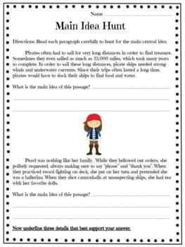 Reading Test Prep Pirate Themed Unit