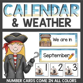 Pirate Theme Calendar Cards
