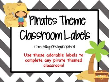 Pirates Theme Classroom Labels (with Grey Chevron Back)
