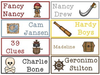 Pirates Theme Classroom Library Labels in 3 Sizes PLUS editable version