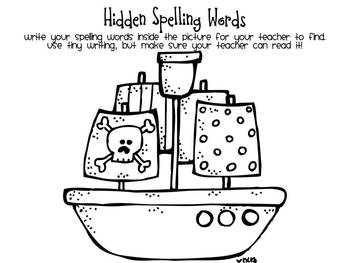 Pirate Theme Spelling Worksheets Packet
