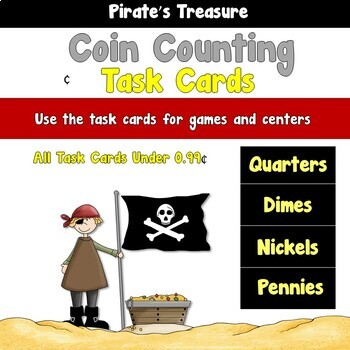 Pirate's Treasure Coin Counting Task Cards and Centers