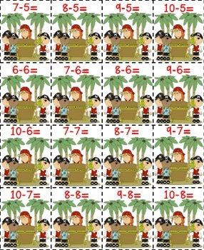 Pirates Treasure Math Game-Subtraction CCSS Aligned