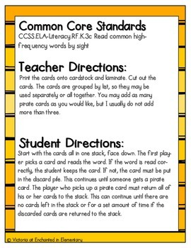 Pirate's Treasure Sight Words! Third Grade List Pack