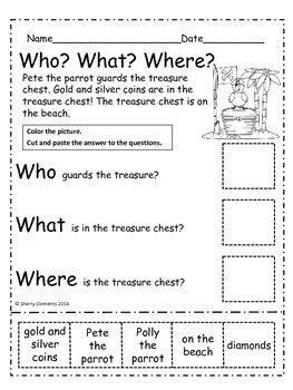 Pirates: Who? What? Where? Reading Comprehension (Cut and Paste)